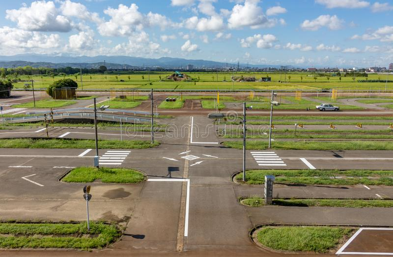 Driving test assessment centre, Kanazawa, Japan. Driving test assessment centre, Kanazawa, Ishikawa Prefecture, Japan stock images