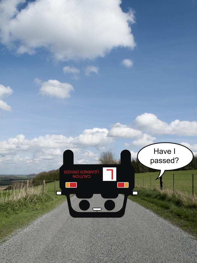 Driving Test. Comical optimistic driver on country road failing his driving test royalty free stock images