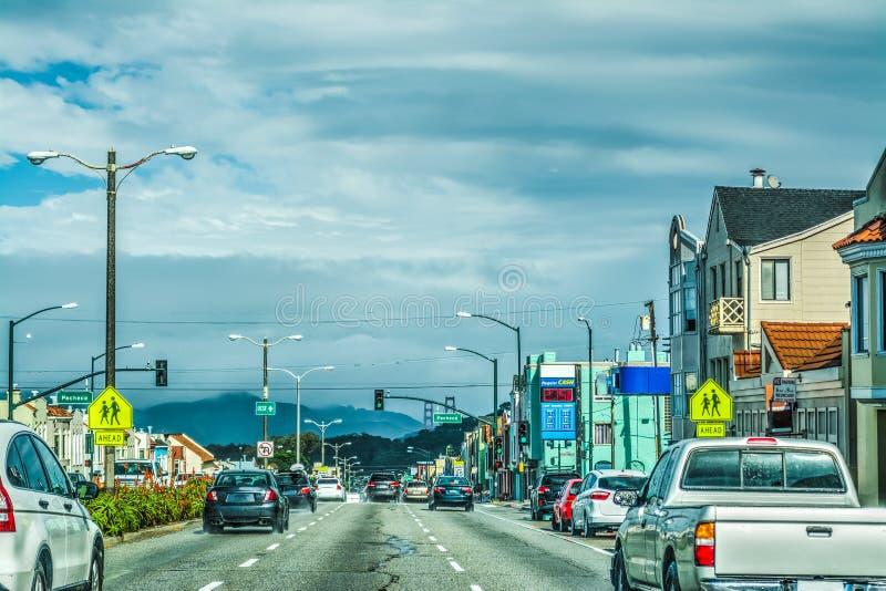 Driving to Golden Gate bridge stock photos