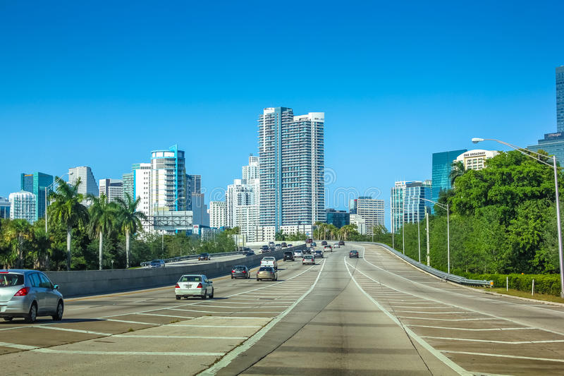 Driving to Miami Florida stock photography