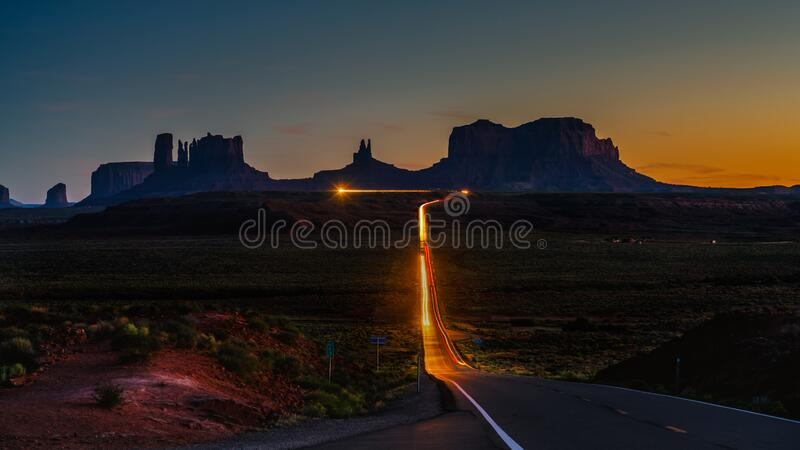 Driving to Monument Valley stock photography
