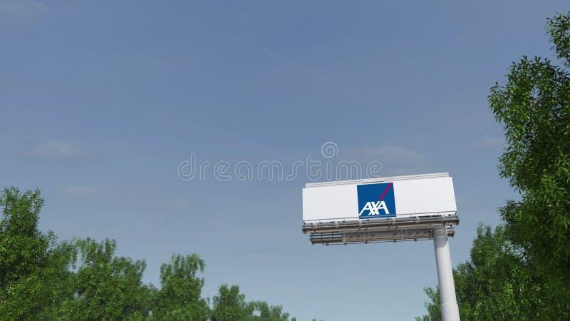 Driving towards advertising billboard with AXA logo. Editorial 3D rendering. Driving towards advertising billboard with AXA logo. Editorial 3D stock photo