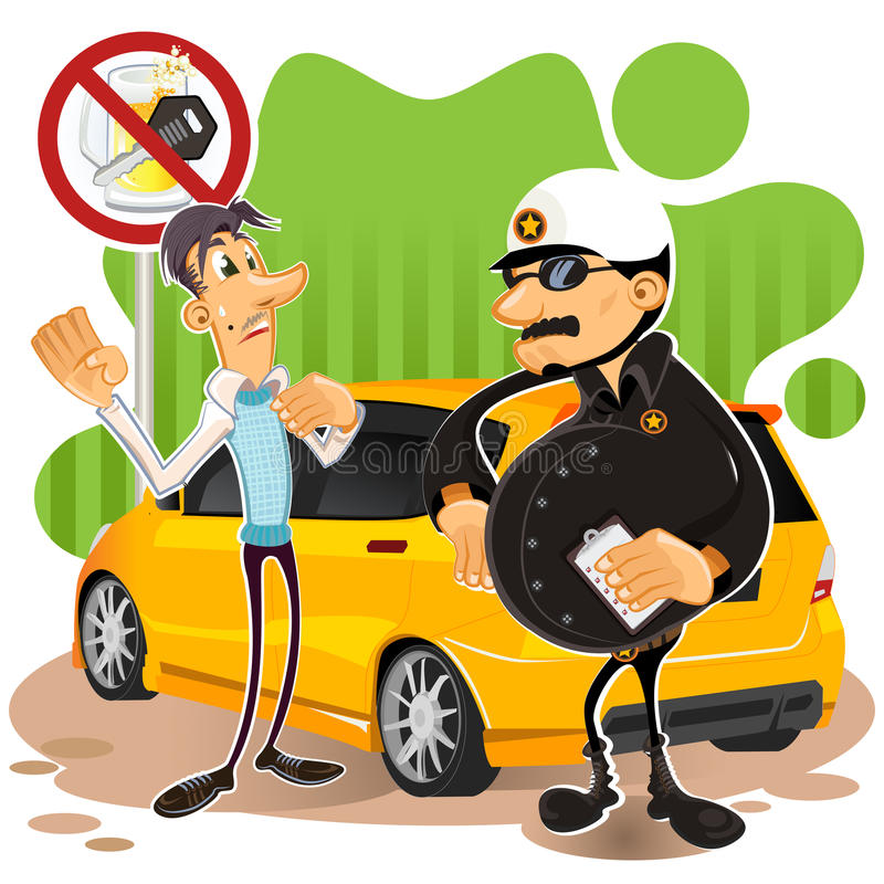 Driving Under The influence. Illustration Of Man Arrested By Police, By Charge Driving Under The Influence stock illustration