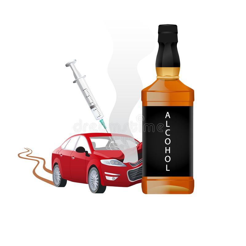 Driving under the influence of club drugs, alcohol, prescribtion drugs, marijuana or other illicit drugs. Car accident stock illustration
