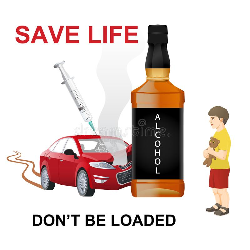 Driving under the influence of club drugs, alcohol, prescribtion drugs, marijuana or other illicit drugs. Car accident. Innocent victim stock illustration
