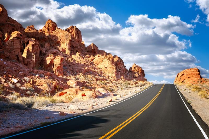 Driving uphill scenic road, USA. royalty free stock image