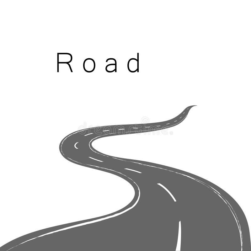 Driving a winding road. Beautiful vector illustration of driving a winding road disappearing into the horizon vector illustration