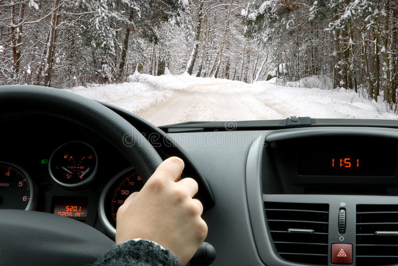 Driving in winter stock photos
