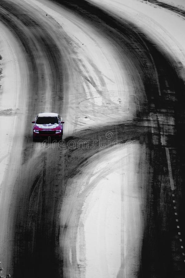 Driving on Winter Roads Traveling Stormy Weather stock photos