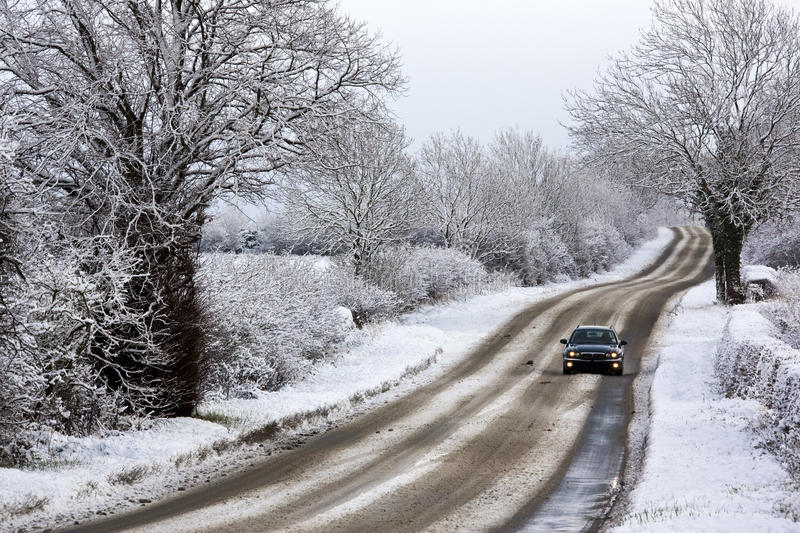 Driving in Winter snow - United Kingdom stock image