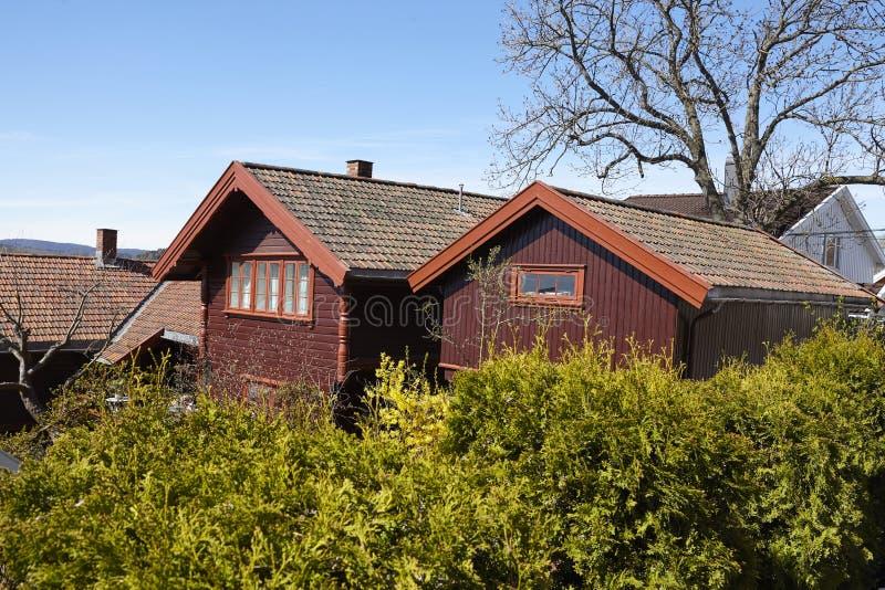 Drobak Akershus, Noruega - casas residenciales fotos de archivo libres de regalías
