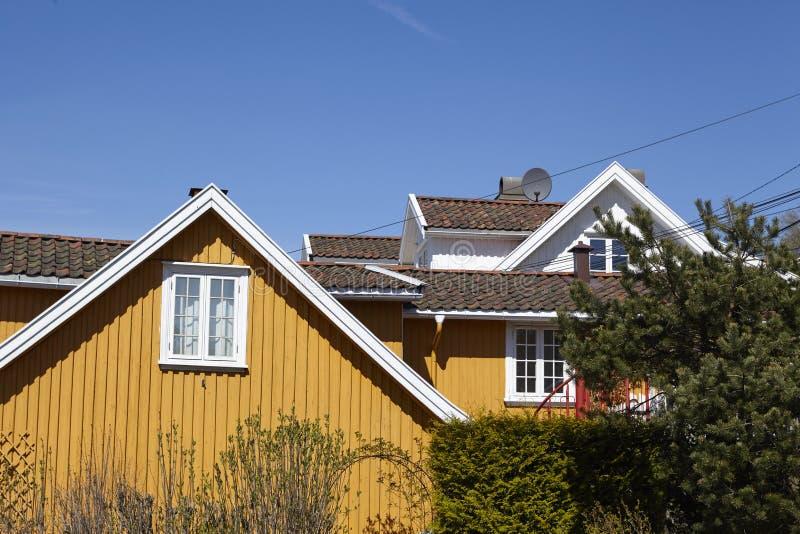 Drobak Akershus, Noruega - casas residenciales fotografía de archivo