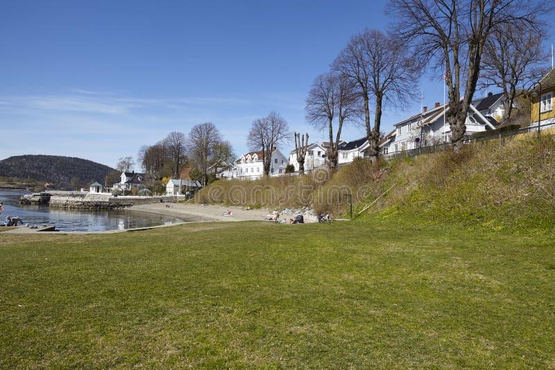 Drobak Akershus, Noruega - tomar el sol área y la playa imagenes de archivo