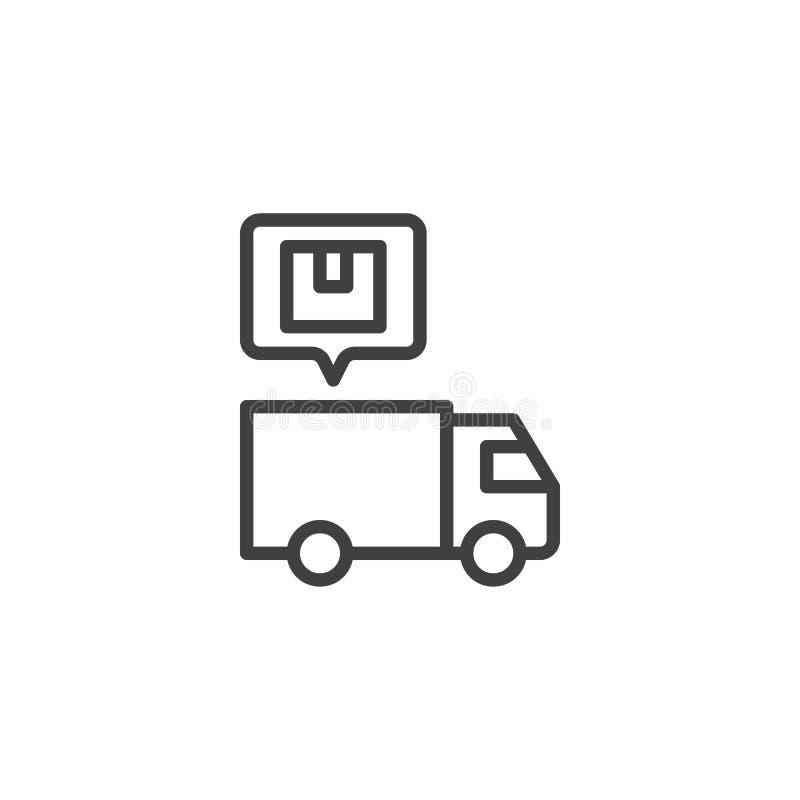 Drobnicowa doręczeniowej ciężarówki linii ikona ilustracja wektor