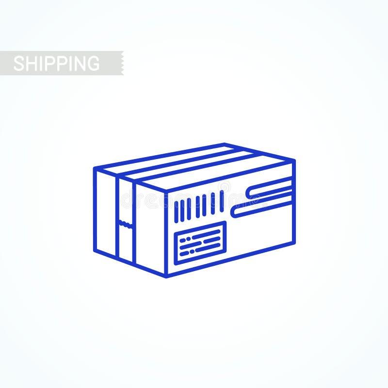 Drobnicowa ikona Dostawy pudełko, kartonowy mieszkanie styl barwił ikonę na białym tle Poczta usługa, dostawa ilustracji