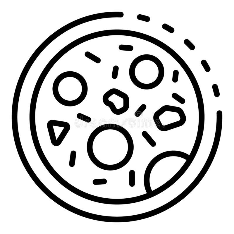 Drobnoustrój pod mikroskop ikoną, konturu styl ilustracja wektor
