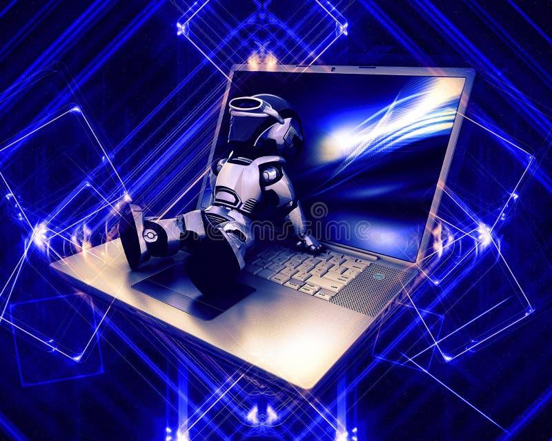3Drobot et ordinateur portable illustration stock