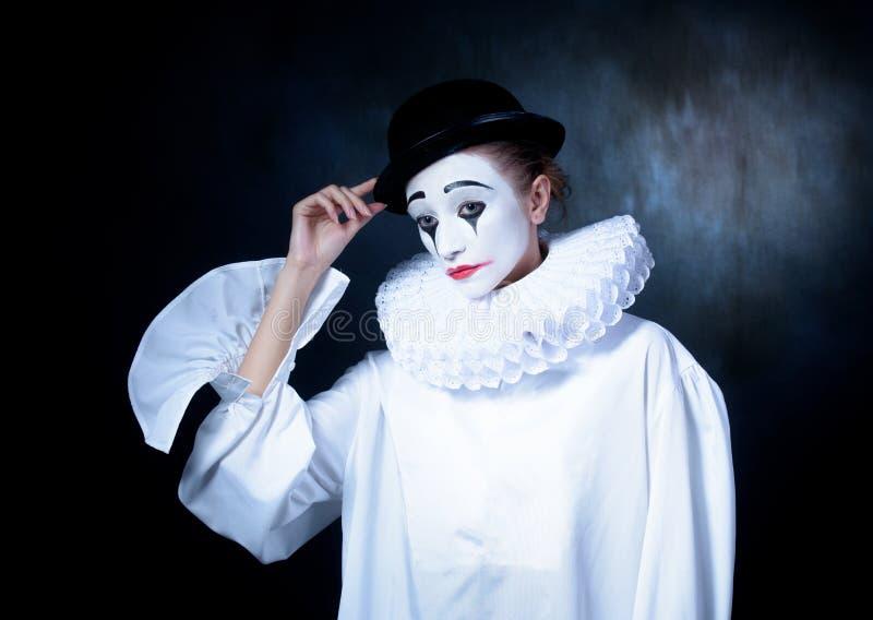 Droevig boots Pierrot na stock afbeeldingen