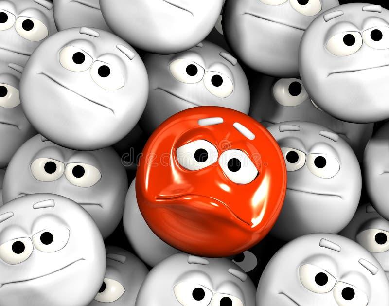 Droevig emoticongezicht vector illustratie