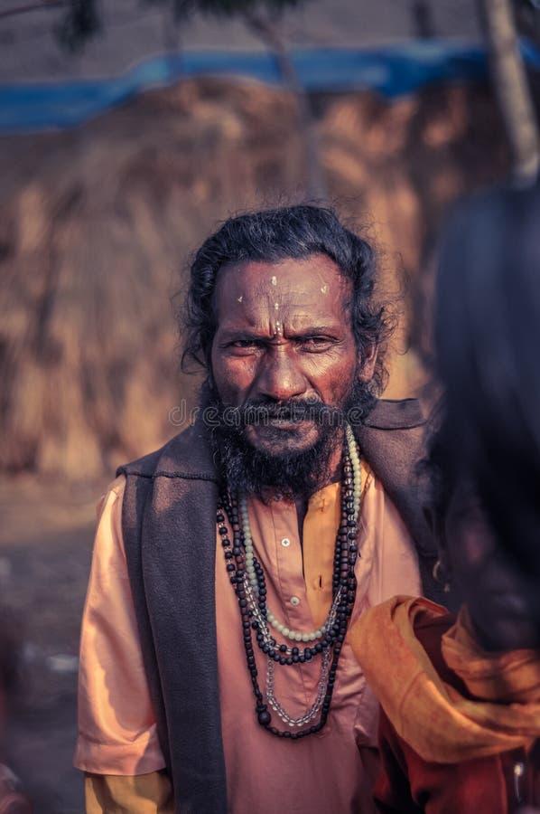 Droevig gezicht in West-Bengalen stock afbeelding