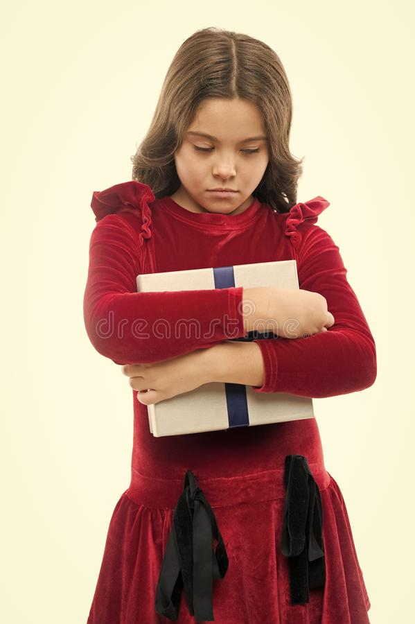 Droevig kind Van de de lijstverjaardag van de verjaardagswens de droefheidsconcept Van de de greepverjaardag van het meisjesjonge royalty-vrije stock afbeelding