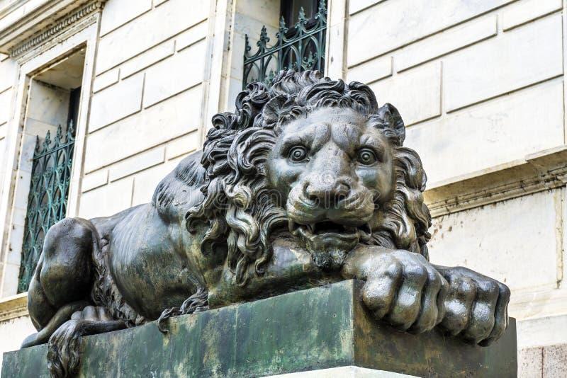 Droevig Lion Closed Cochran Gallery van Art Washington gelijkstroom stock afbeeldingen