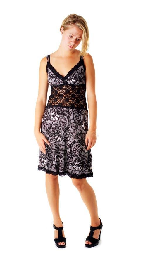 Download Droevig Meisje In Kleding Op Wit Stock Afbeelding - Afbeelding bestaande uit luxe, schoonheid: 10783485