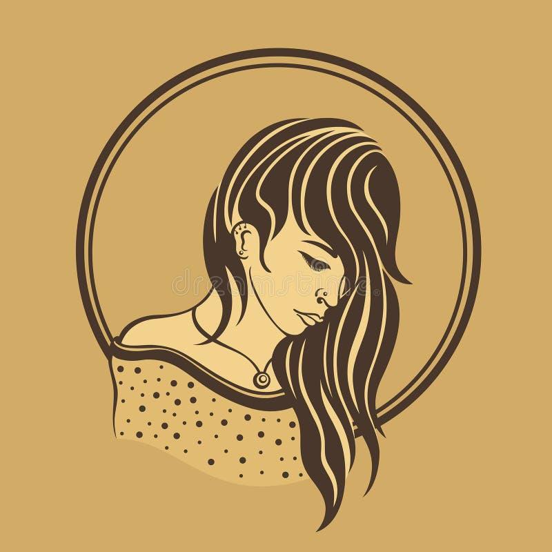 Droevig meisje op een bruine achtergrond stock afbeelding