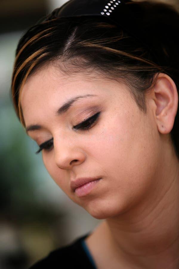 Droevig Mexicaans meisje stock afbeelding
