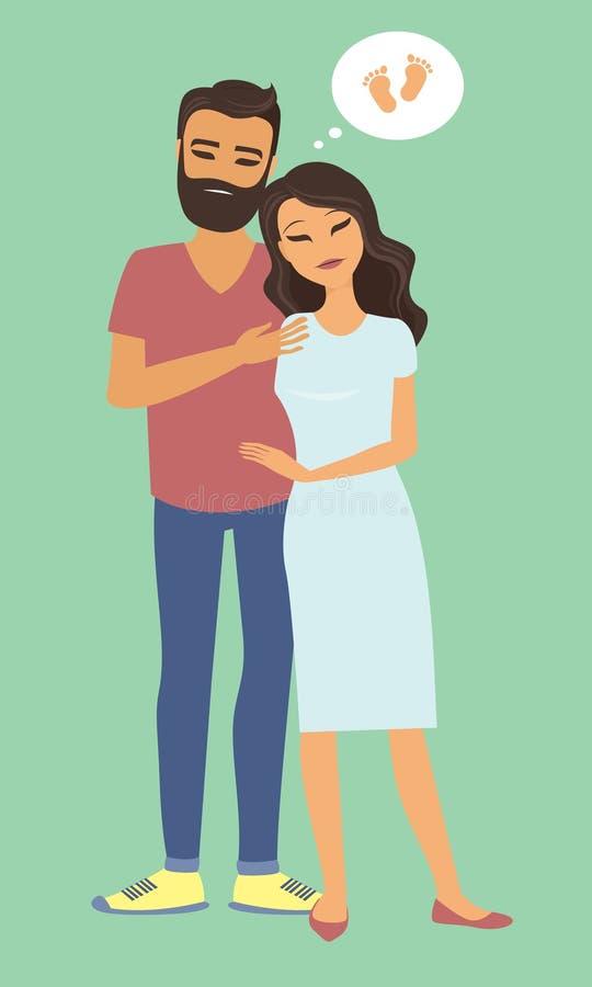 Droevig onvruchtbaar paar die van een baby dromen stock illustratie