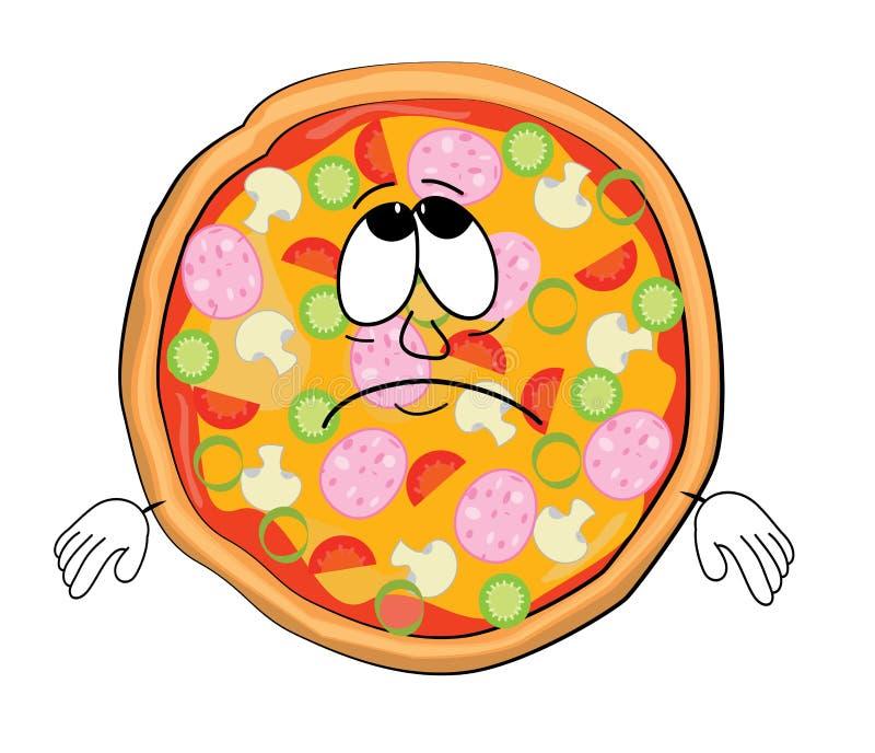 Droevig Pizzabeeldverhaal stock illustratie