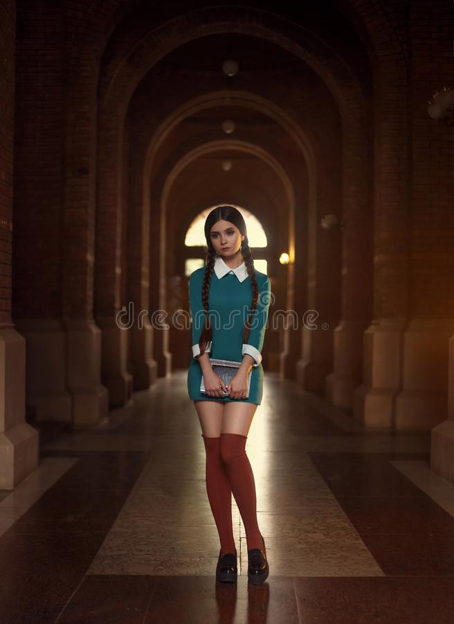 Droevig schoolmeisje royalty-vrije stock afbeelding