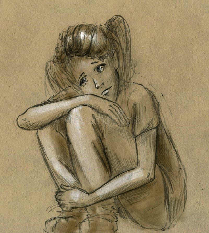 Droevig tienermeisje stock illustratie