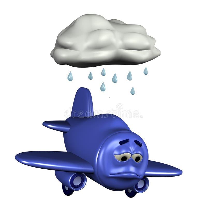 Droevig Vliegtuig Emoticon stock illustratie