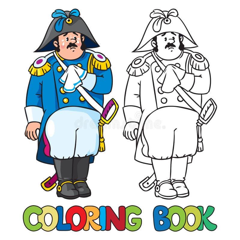 Droevige algemeen of ambtenaar Kleurend boek stock illustratie