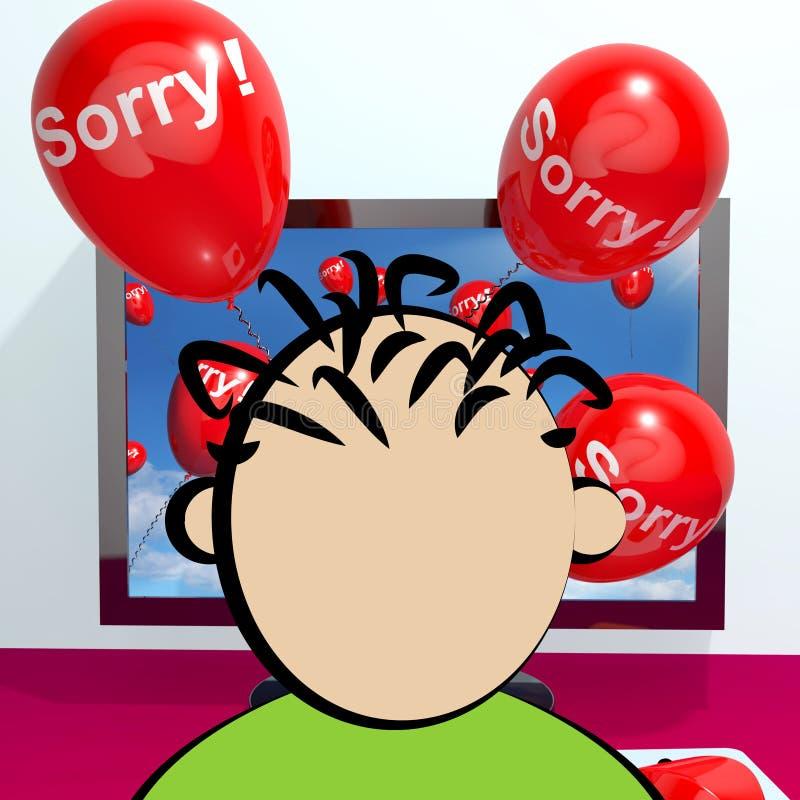 Droevige Ballons van Computer die Verontschuldiging het 3d Teruggeven tonen stock illustratie