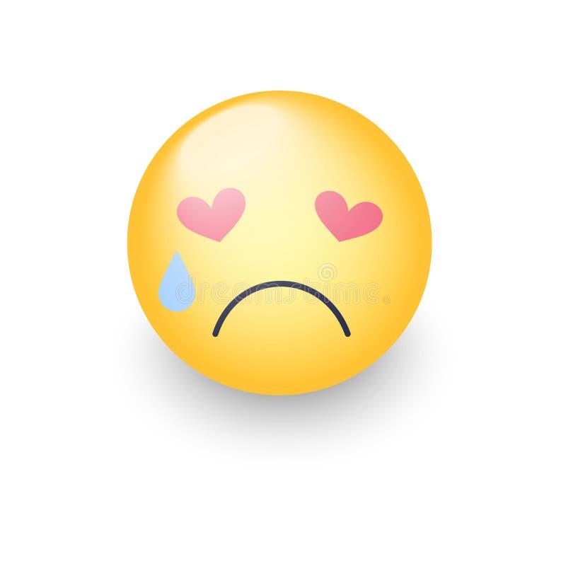 Droevige bekoorde smiley met ogen in de vorm van harten Schreeuwend emojigezicht Leuk beeldverhaal emoticon met scheuren van zijn stock illustratie