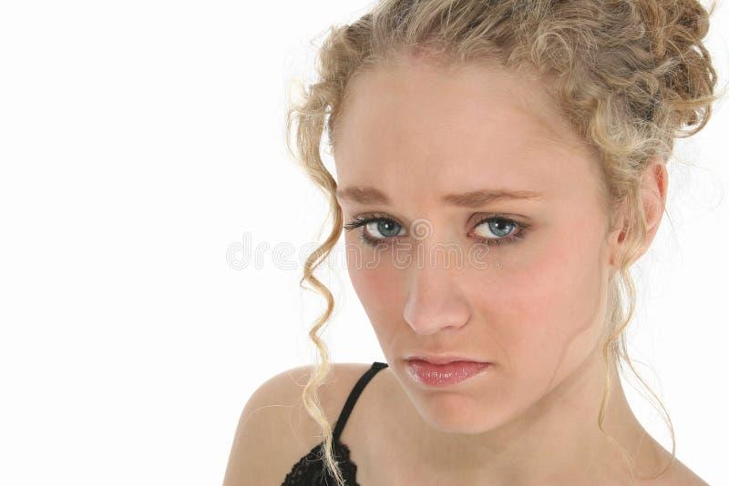 Droevige Betoverende Blonde royalty-vrije stock fotografie