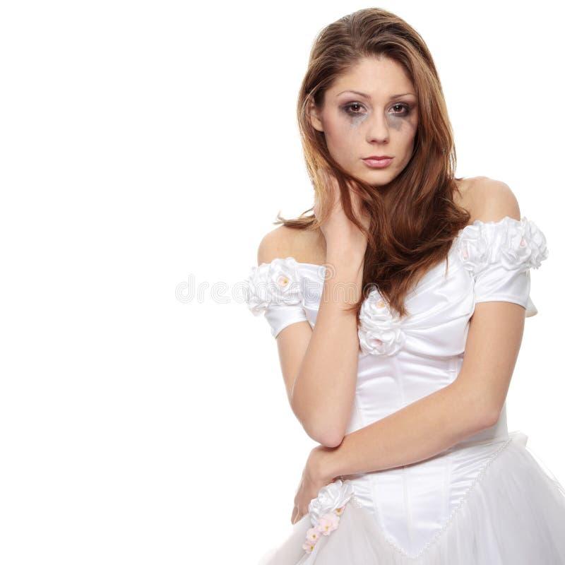 Droevige bruid royalty-vrije stock afbeeldingen