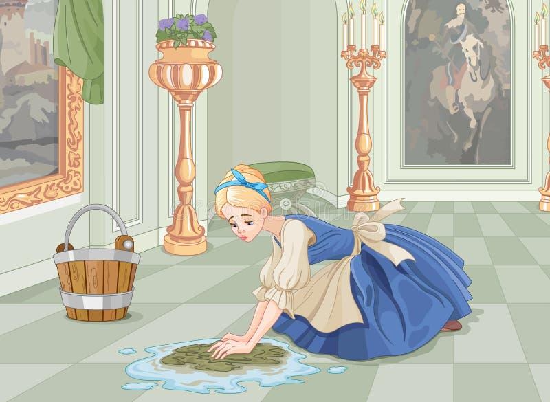 Droevige Cinderella Cleaning stock illustratie