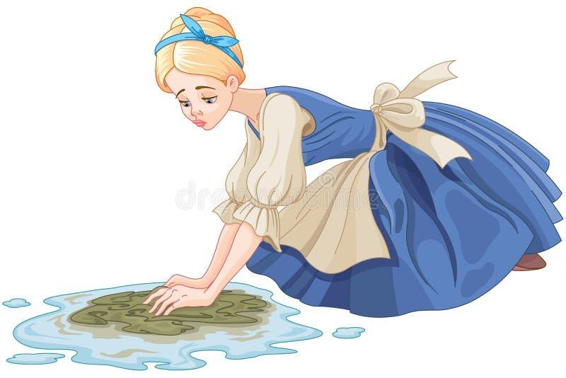 Droevige Cinderella Cleaning de Vloer stock illustratie