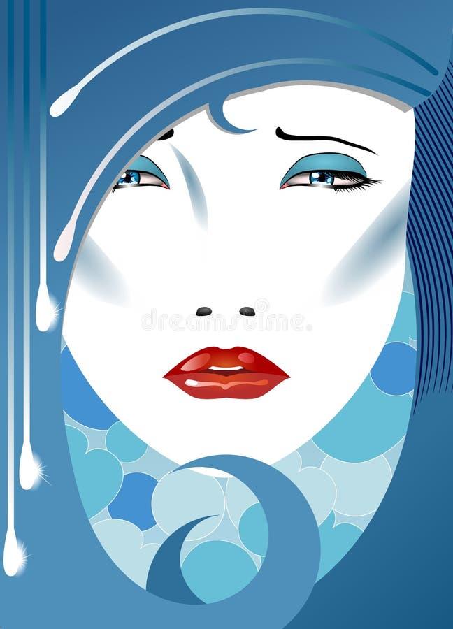 Droevige dame vector illustratie