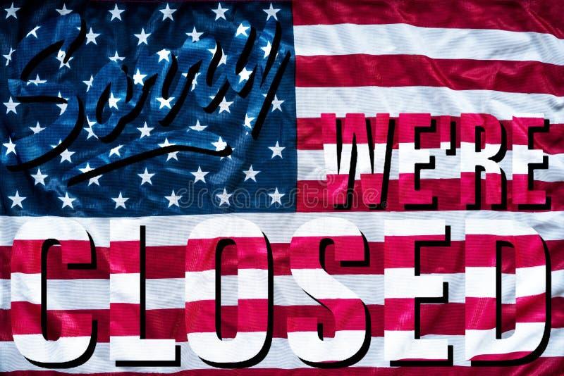 Droevige de symboliek van de overheidssluiting wij ` aangaande gesloten teken stock foto
