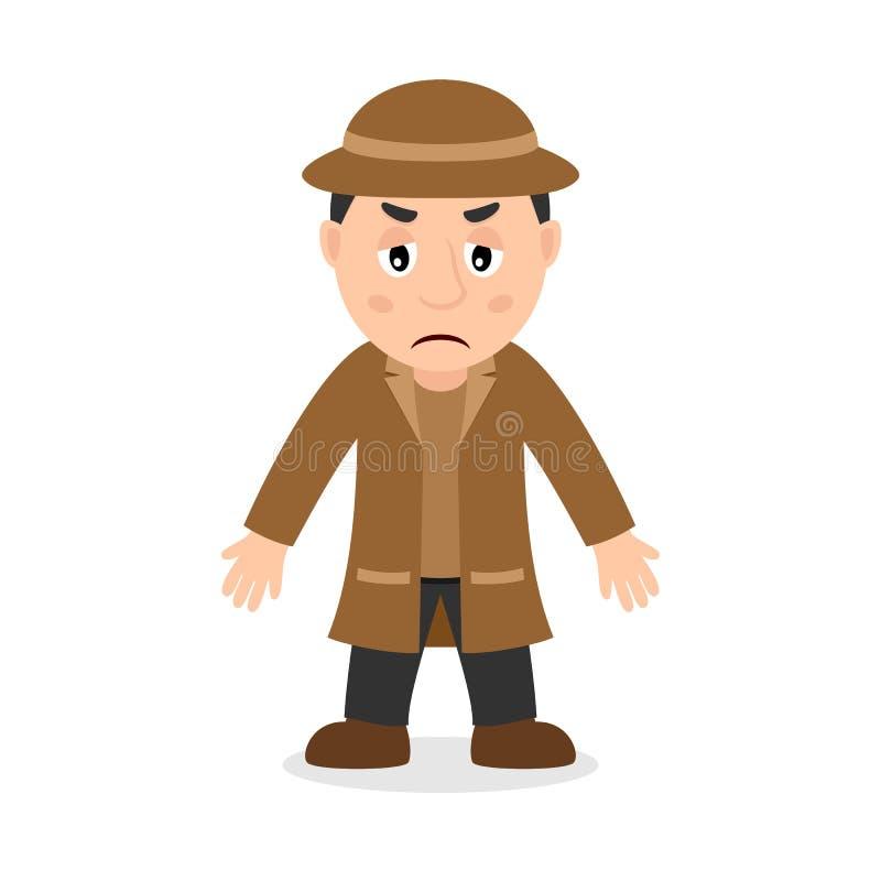 Droevige Detective Cartoon Character royalty-vrije illustratie