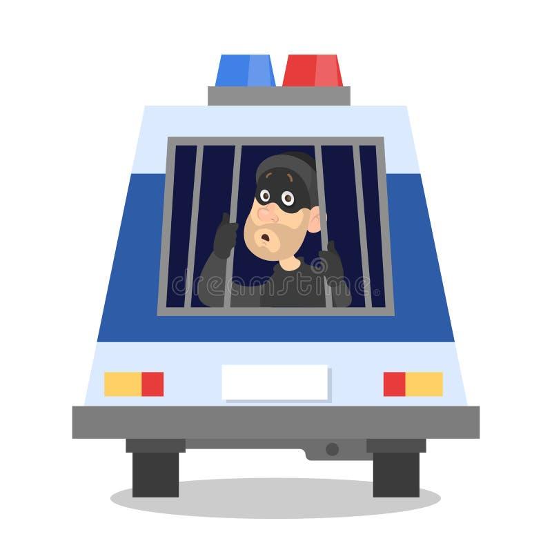 Droevige dief in politiewagen Arrestatie van misdadiger vector illustratie