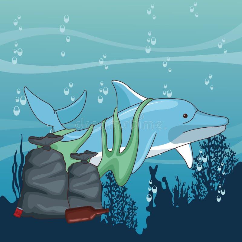 Droevige dolfijn met vuilniszakken stock illustratie