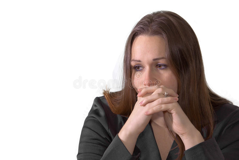 Droevige donkerbruine vrouw stock foto's