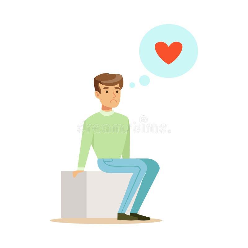 Droevige eenzame mens in liefde die en kleurrijke karakter vectorillustratie zitten dromen stock illustratie