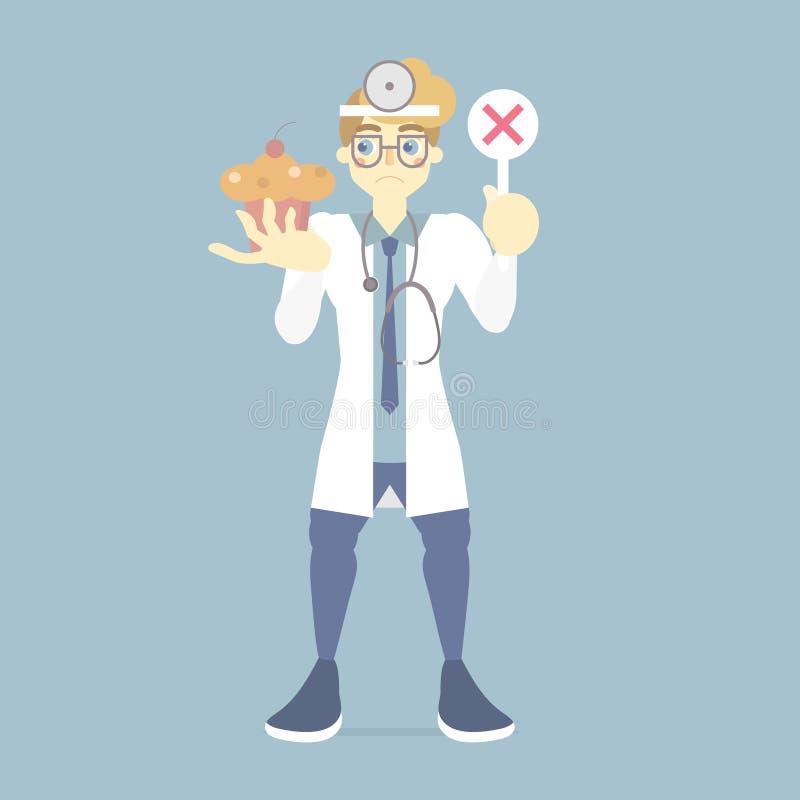 droevige en verstoorde mannelijke arts die verkeerd, onjuist tekensymbool met zoet dessert, gezondheidszorgconcept houden stock illustratie