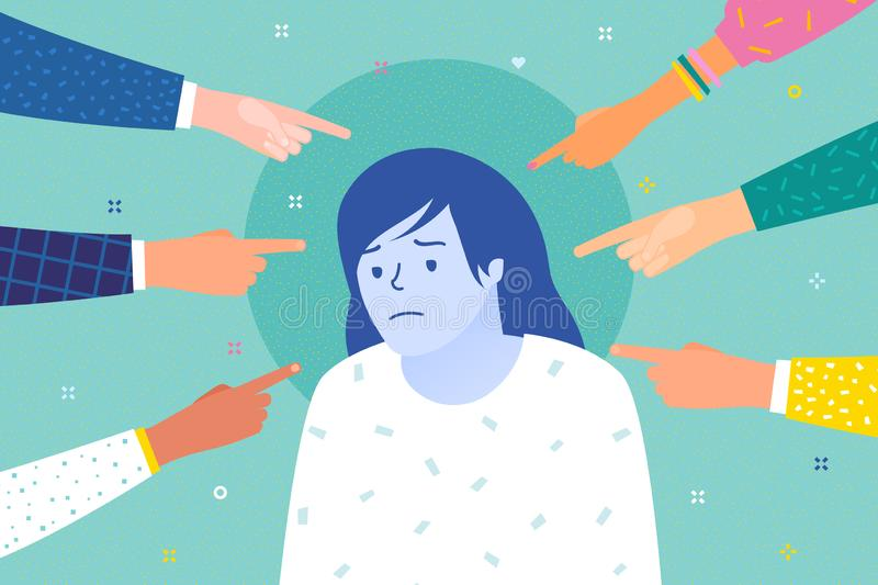 Droevige of gedeprimeerde vrouw die door handen met wijsvingers wordt omringd die op haar richten royalty-vrije illustratie
